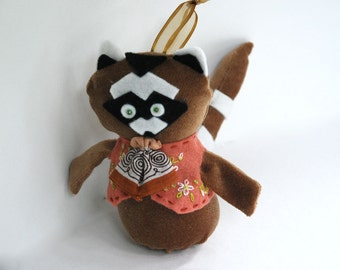 Little Raccoon Ornament or Door Hanger  Made with Felt and a Vintage Handkerchief in brown, and peach by Pine Hill Forest