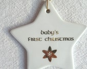 Baby's First Christmas Star Ornament with 22K Gold