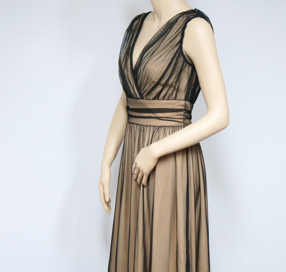 Vintage Dress / Cocktail / Party Dress / Flesh / Black Net / Ruched Waist / 1980's / Size 8