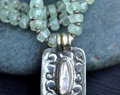 Green Tranquility- Prehnite, Large Freshwater Pearl inset in Sterling Silver Necklace