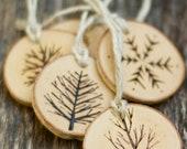 Christmas Ornament - 2016 Ornament - Christmas - Christmas Tree - Wood Burned - Tree Branch Ornament - Wood Slice Ornament - Snowflake