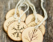 Rustic Christmas Ornaments - Tree Branch Ornament - Snowflake Ornament - Christmas Decoration - Wood Slice - Wood Burned - Natural Ornament