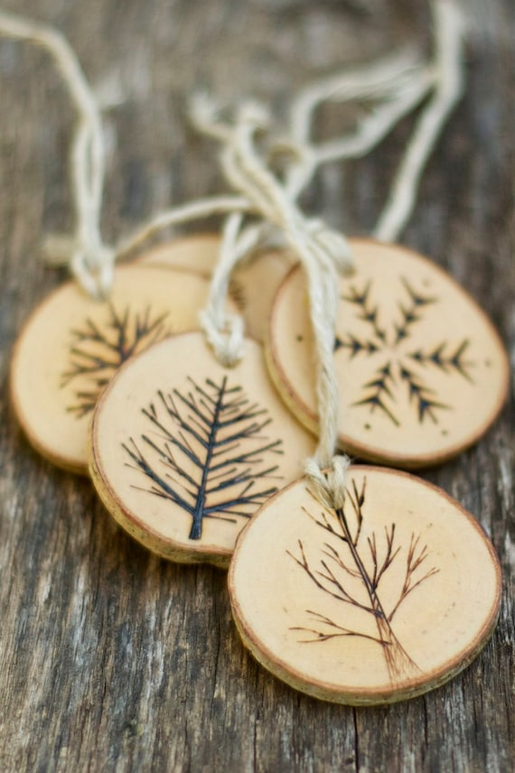 Wooden Christmas Ornaments Part - 46: Tree Branch Christmas Ornaments Wood Burned By TheSittingTree
