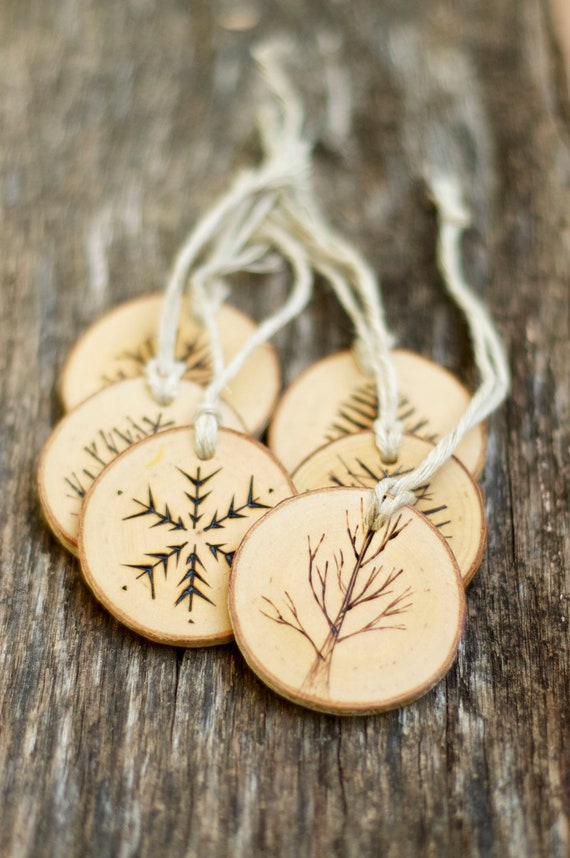 Tree Branch Christmas Ornament, Rustic Christmas, Natural Ornament, Wood Burned Ornament, Wood Slice Ornament, Ornament Sets - Gift Tags