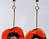 Flower earrings hand blown glass by paulbead sterling silver fashion earrings natural style jewelry Christmas gifts under 25.00 poppy flower