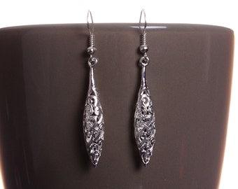 Silver tone hollow drop oval filigree dangle earrings (586) - Flat rate shipping