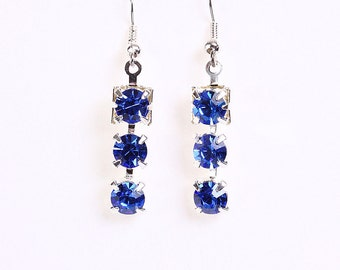 Elegant estate style sapphire blue rhinestone crystal dangle earrings (616) - Flat rate shipping