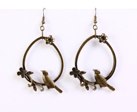 Large antique brass bird flower drop dangle earrings (654) - Flat rate shipping
