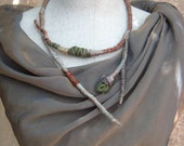 Evelin - Wrapped Textile Fiber Necklace - Handmade - Art To Wear Upcycled - Recycled - Organic Look - Fashion - Women Accessories