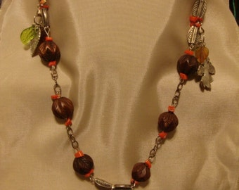 32in. silver coral and wood Fall leaf necklace