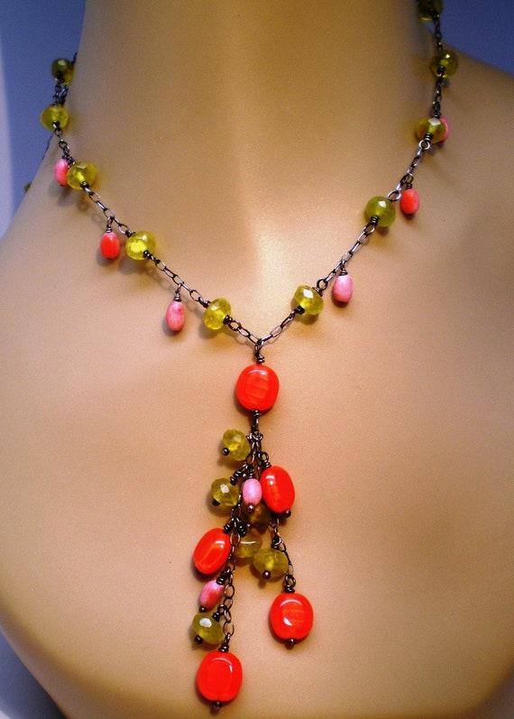 Vintage Necklace Linked Chain Glass Beads Citron Orange Lariat Bib Waterfall Style 70s BoHo Hippie