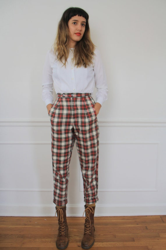Vintage High Waisted Plaid Pants by laurenwinterco on Etsy