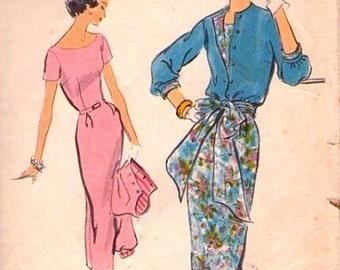 Vintage 1950's VOGUE Pattern  9094 -  GLAM  One Piece Evening Dress Wide Neckline & Jacket - size 12, Bust 32