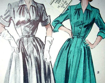 UNCUT * Vintage 50's  Pattern Butterick 6156 -  Casual Dress with Wing Collar and Cuffed Sleeves -  Size 14 * Bust 32