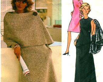 UNCUT * Vogue Couturier design Pattern 2739 - FABULOUS Sybil Connolly Evening Dress and Asymmetrical Cape - 3 Sizes available