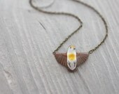 Golden Heart Dove in flight necklace