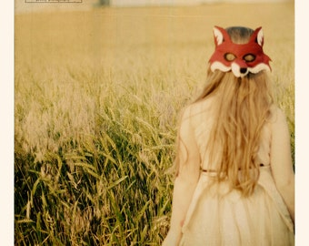 Fox Girl Square Fine Art Print--Fox Mask Child Field Red Green Orange Summer Youth Hair Beauty Midwest Home Decor Wholesale