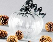 SHOP CLOSING!, SALE, 50% Off, Hand Blown Glass Pumpkin, Metallic Black