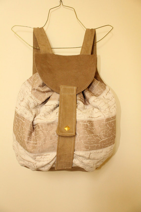 CLEARANCE Driftwood Backpack, Faux Suede and Textured Beige Bag