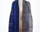 Silk sari or saree scarf in blue and gray batik extra long