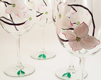 White and pink Dogwood flowers - hand painted wine glasses - painted dogwood glasses - set of 4