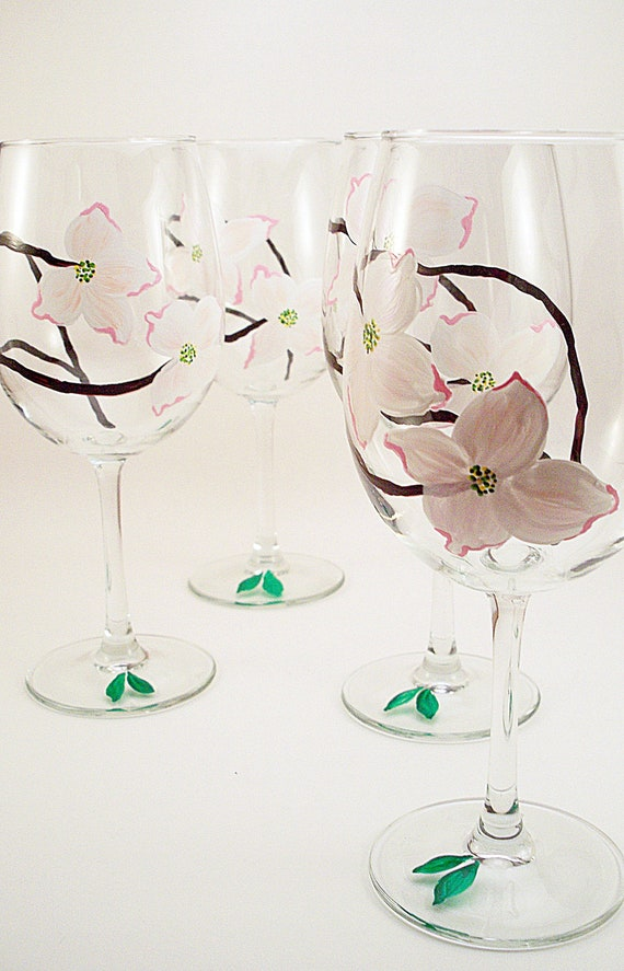 White and pink Dogwood flowers - hand painted wine glasses - set of 4