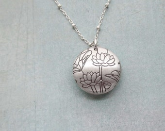 Sterling Silver Lotus Necklace Mother Daughter Sister Friend Wife Secret Message