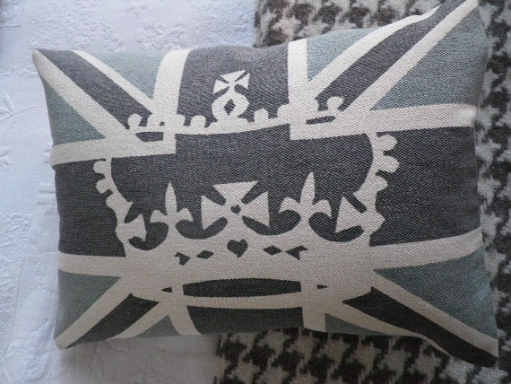 handprinted grey and blue union jack crown cushion