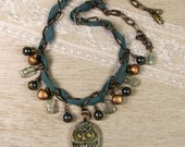 "Teal Necklace with Owl Pendant  ""Whooo Me"" Featured in Bead Trends Magazine"
