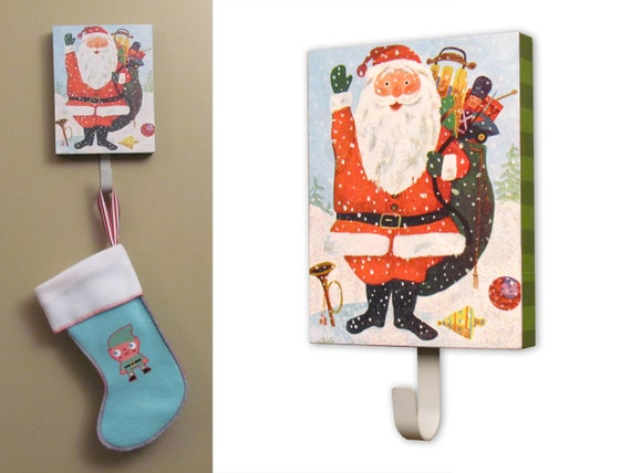 Santa Stocking Holder with Vintage childrens Book page Decoupage with Sparkle glitter  - Jingle Bells glittery Christmas Stocking Holder