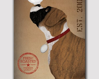 PERSONALIZED Customized BOXER  Dog Coffee Co.  - Stretched Canvas Wall Art  Ready-To-Hang  Cropped and Brindle