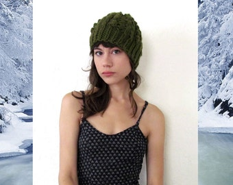 Hand Knit BESS CAP in Olive / 10 Colors Available