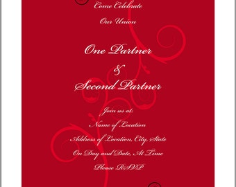 """Do-It-Yourself Red Twirling Vines 5.5"""" x 8.5"""" Flat One-Sided Wedding Invitations"""