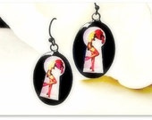 Peep Show Dangle Earrings Burlesque Pin Up Art Rockabilly Voyeur Keyhole Girl-Sexy Stockings-25 and under gift-In Stock