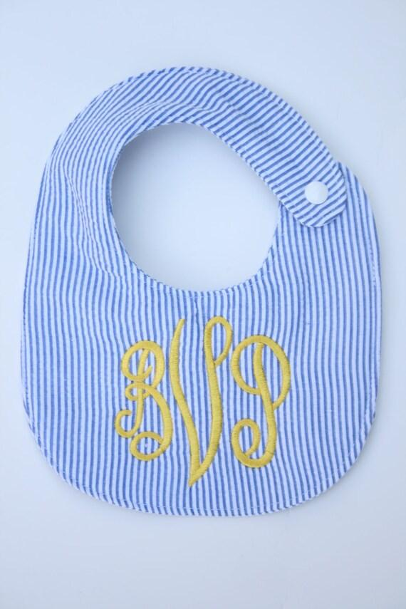 Personalized bib, Monogrammed bib, Baby shower gift, Seersucker bib, You Customize