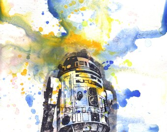 Star Wars Art R2D2 Poster Print From Watercolor Painting - Star Wars Fine Art poster print 13 x 19 in. Star Wars Poster Print