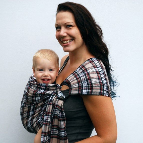 Baby Carrier Ring Sling Mad About Plaid -Tan Red Black- Pleated - Many colors/styles Available - Made to Order