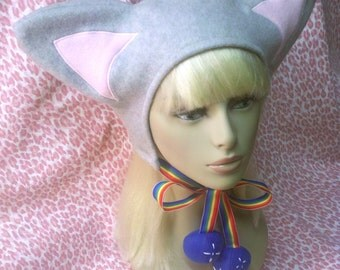 Grey & pink kitty hat Nyan Cat style