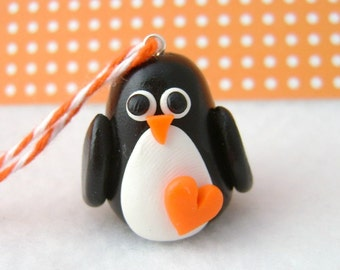 Polymer Clay Penguin Christmas Ornament