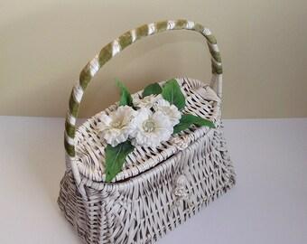 SALE Vintage La Regale White Wicker Basket Purse