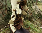 Woodland Owl Calf High Elf Wrap Moccasin Hand Stitched Soft Bullhide Leather Upper With A Durable VIBRAM Sole / Rustic Earthy Owls Shoes
