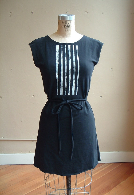 Black Tunic Cotton Jersey with White Lines- size small