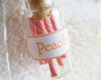 Peach Candy Jar Necklace- Pink and Peach Swirl - Miniature Glass Bottle Jewelry