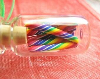 Rainbow Candy Jar Necklace - Cherry Rainbow Swirl Candy Sticks - Miniature Bottle