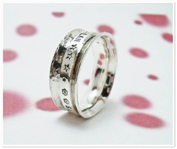 Spinner Ring Personalized Hand Stamped Sterling Silver Worry Ring