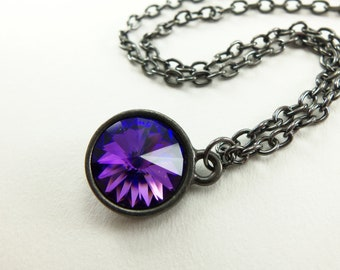 Blue Purple Crystal Necklace Swarovski Purple Jewelry Dark Silver Gunmetal Blue Crystal Necklace