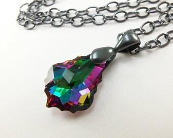 Dark Crystal Rainbow Pendant Necklace Gunmetal Rainbow Crystal Pendant Baroque Swarovski Gothic