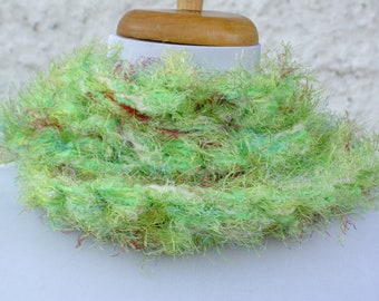 Luscious Lime Hand Knit Scarf -- Lime Green Skinny Scarf -- Multi fiber Scarf in Lime Green