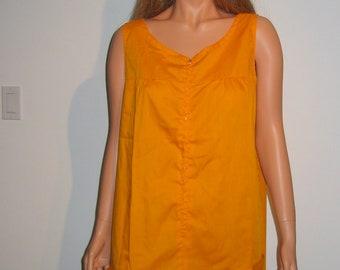 Vintage 60's Cotton Gold-Orange House Dress, Day Dress.  Flower Power pockets.