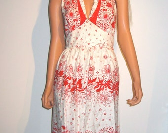 Halter Dress in brilliant Red and White.  Vintage 1970's .  Floral Boho, Hippie.